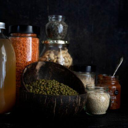 coconut bowls and glass jars