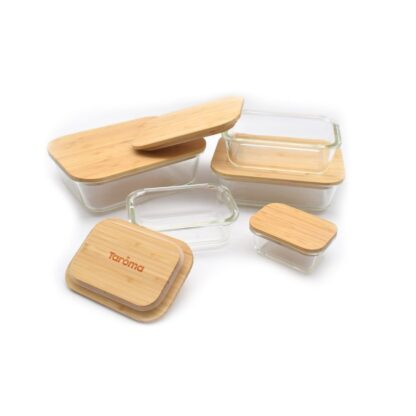 glass set with bamboo lids