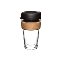 KeepCup 'Black' Glass Cup Brew Cork Edition 355ml or 473ml